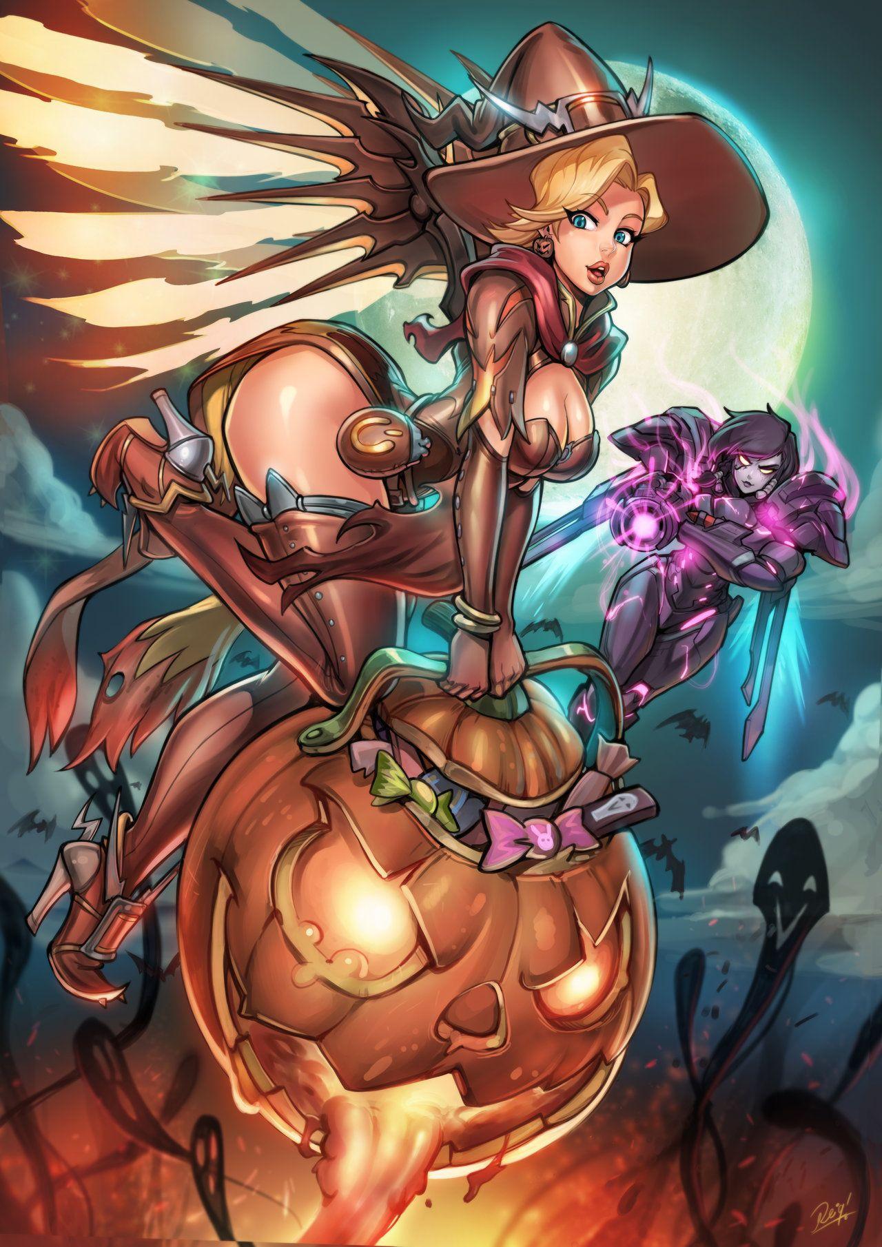 Overwatch Halloween Mercy Vs Pharah Print Pack Sp By Reiq On
