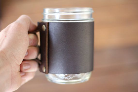 The Handmade Leather Mason Jar Coffee Mug by AlexCarrollLeather