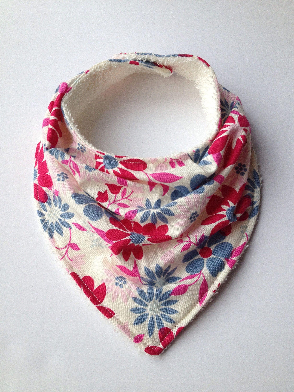 35cc8573d03 Baby Girl Bandana Bib - slouchy - spring flower pattern - drool bib - cream  coloured