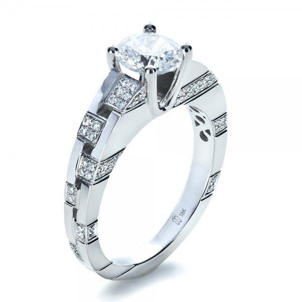 Unique Modern Diamond Engagement Rings   Engagement Rings-Custom Contemporary Diamond Engagement Ring