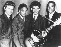 On tour together in 1958 - L-R: Phil Everly, Jackie Wilson, Don Everly, Clyde McPhatter. All have been inducted into the Rock and Roll Hall of Fame.