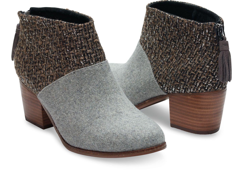 Leila, bootie voor dames, zwart, van vilt en wol | Bootie