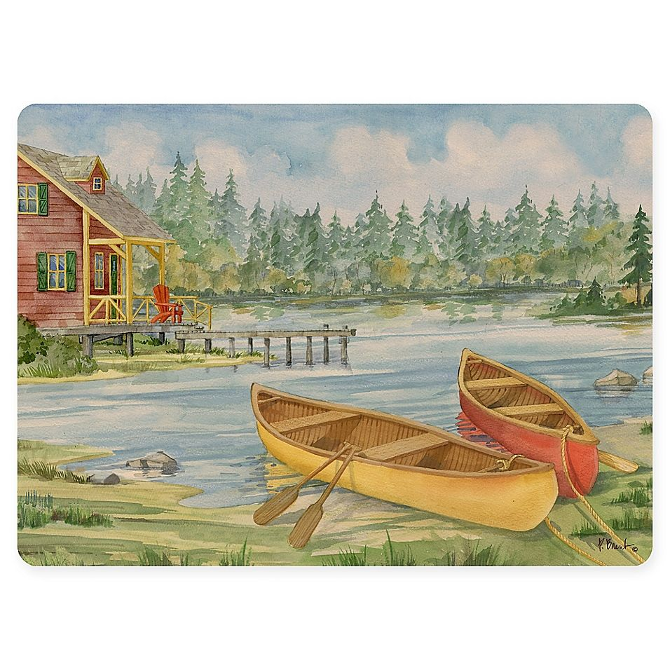 Lake Scene Placemat In Green Bed Bath Beyond Cabin Art Canvas Decor Canoe Camping