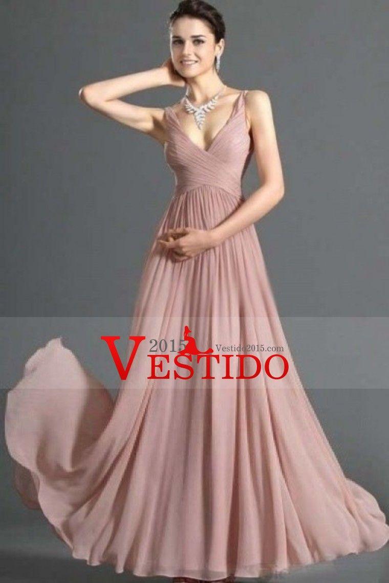 Simple vestidos de baile Una línea V cuello piso-longitud gasa ...