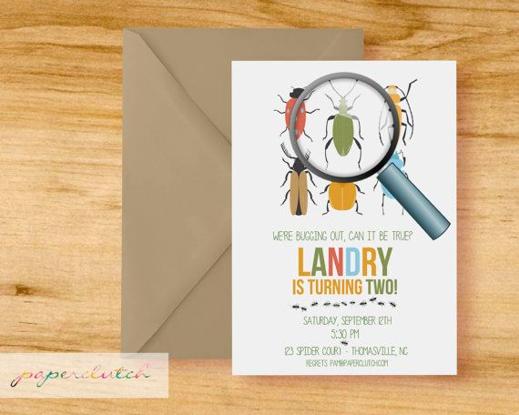 Bug  Birthday Party Invitation  Digital File or by PaperclutchShop