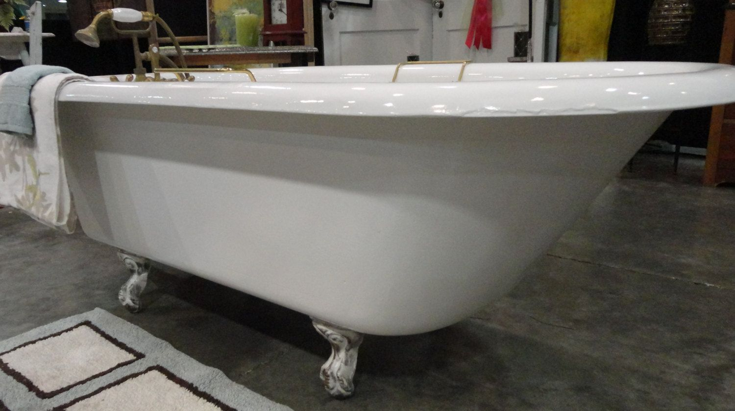 Antique Vintage Cast Iron Claw Foot Clawfoot Tub 1900 S White With