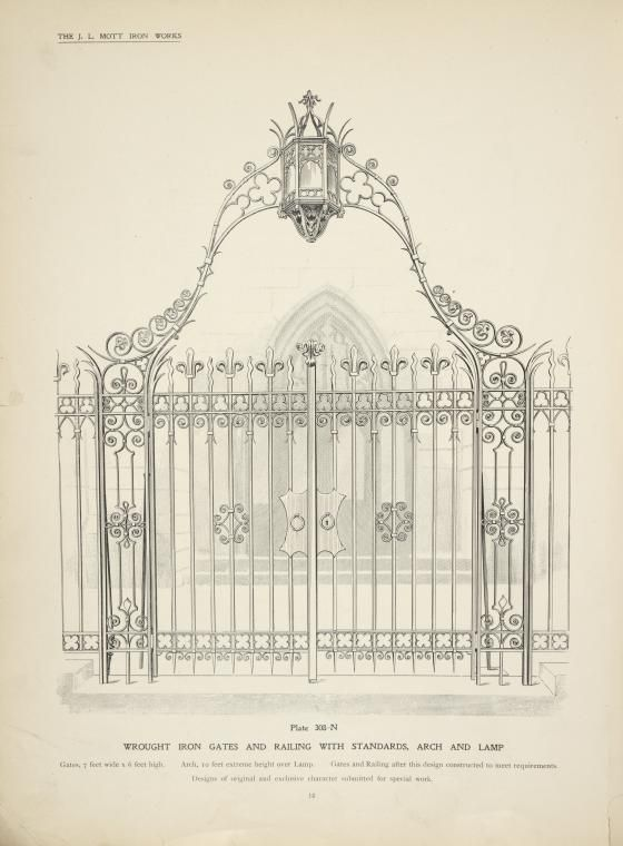 Wrought Iron Gates And Railing With Standards Arch And Lamp With