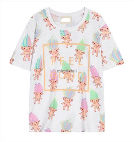 Harajuku-style-Elf-cartoon-loose-round-neck-short-sleeved-T-shirt-Tops