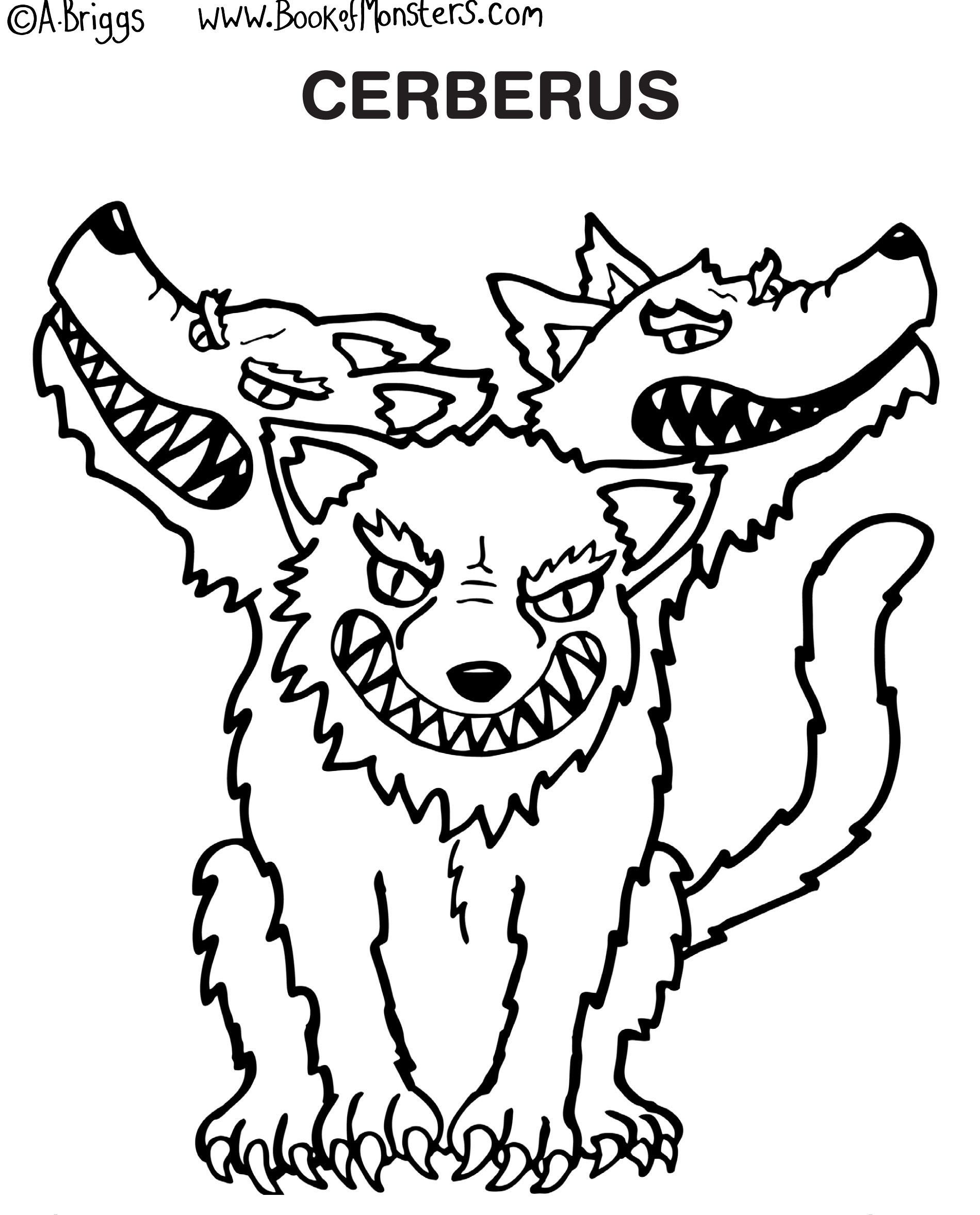 book of monsters coloring page for kids cerberus greek mythology