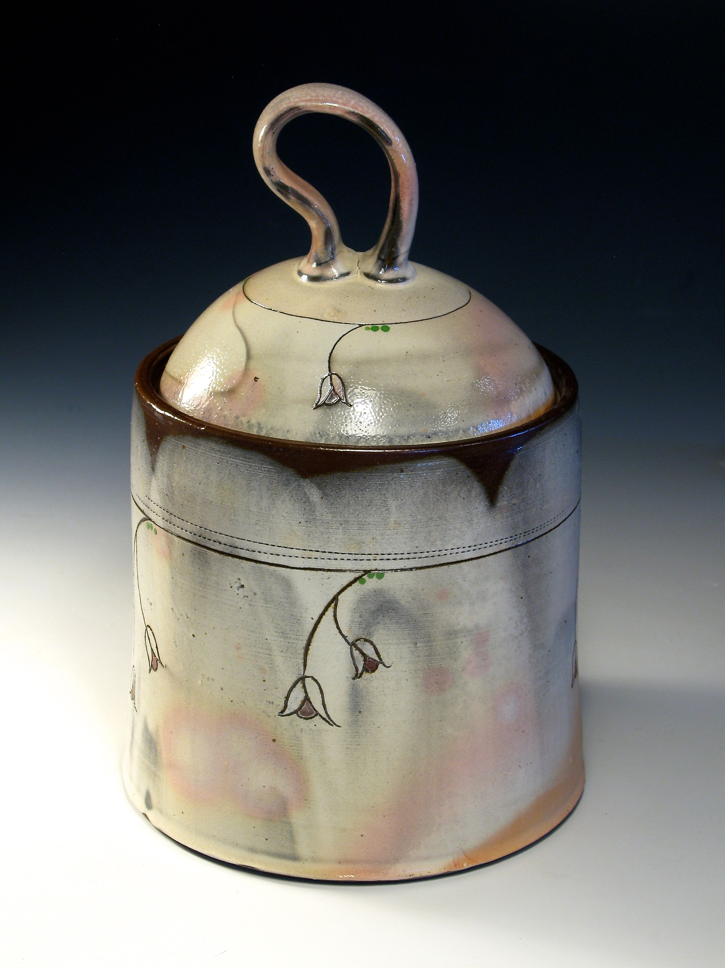Molly M. Ceramics, cone 5 soda, lidded jar