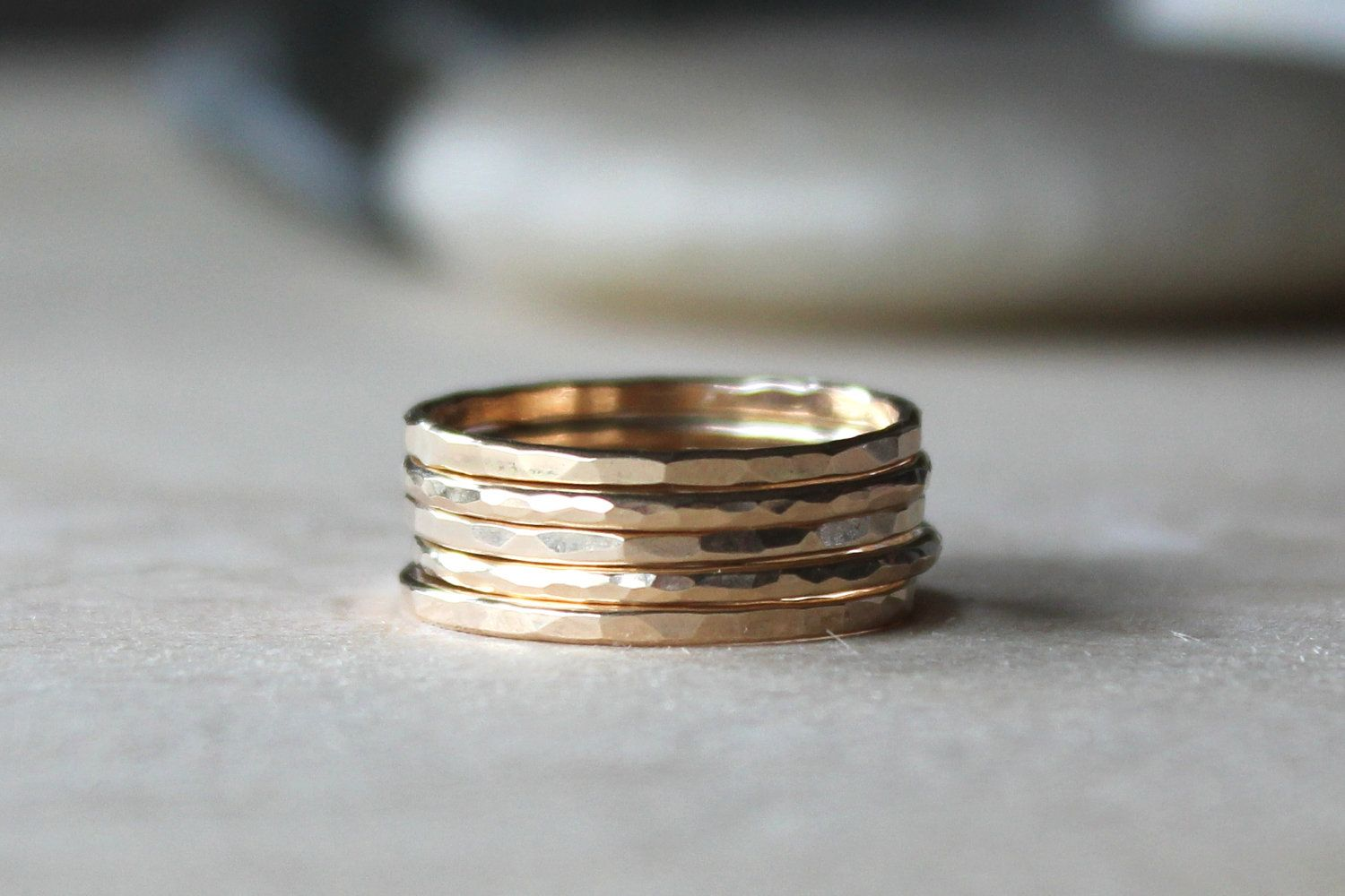 Stacking rings set of gold fill hammer textured via