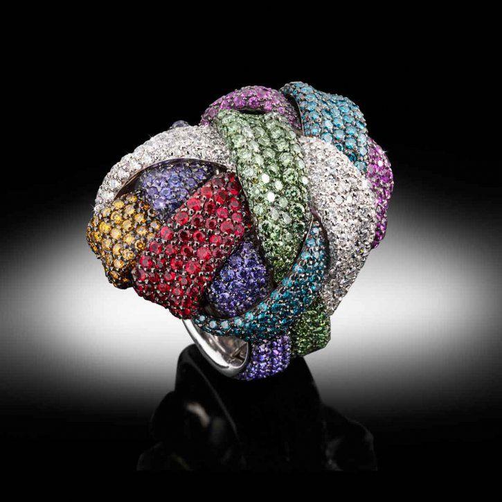 """Palmiero """"Gomitolo"""" multicolored sapphire and diamond ring"""