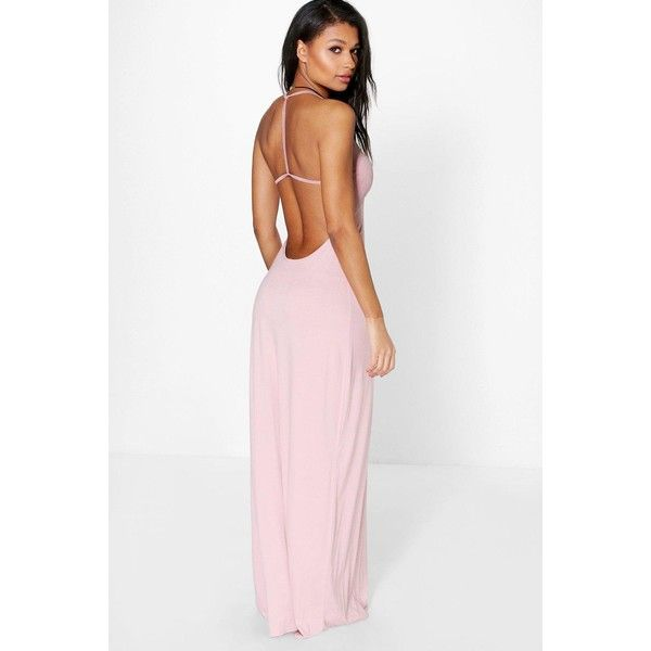 Boohoo Amy Strappy Back Maxi Dress ($35) ❤ liked on Polyvore featuring dresses, peach, mini party dress, holiday party dresses, peach dress, strappy dress and rayon maxi dress