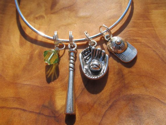 I Love Softball Alex And Ani Inspired Adjule Bangle Bracelet Dangles With The Following A