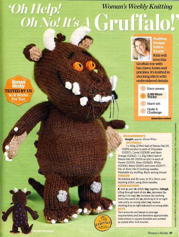 Woman s Weekly Knitting Patterns Toys : GRUFFALO TOY Knitting Pattern from Womans Weekly by PatternaliaVintage Knit...