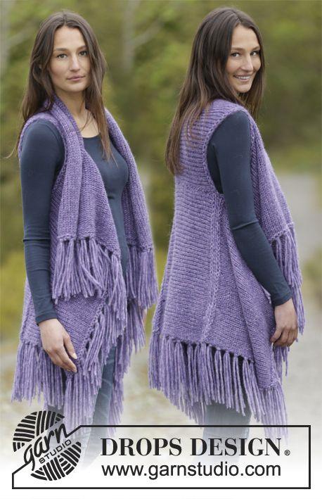 Gilet DROPS ai ferri, a maglia rasata, con frange, lavorato da lato ...