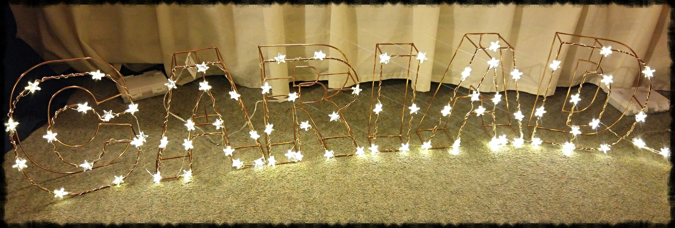 Our Top Table Sign Letters from Hobbycraft, Lights from Lights 4 Fun