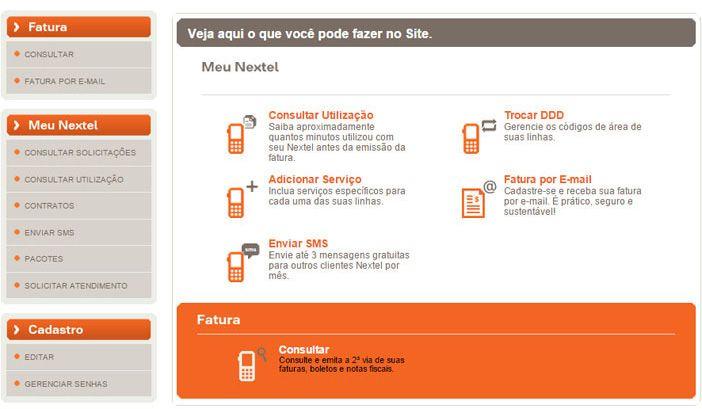 Autoatendimento Meu Nextel Na Web Nextel Linhas