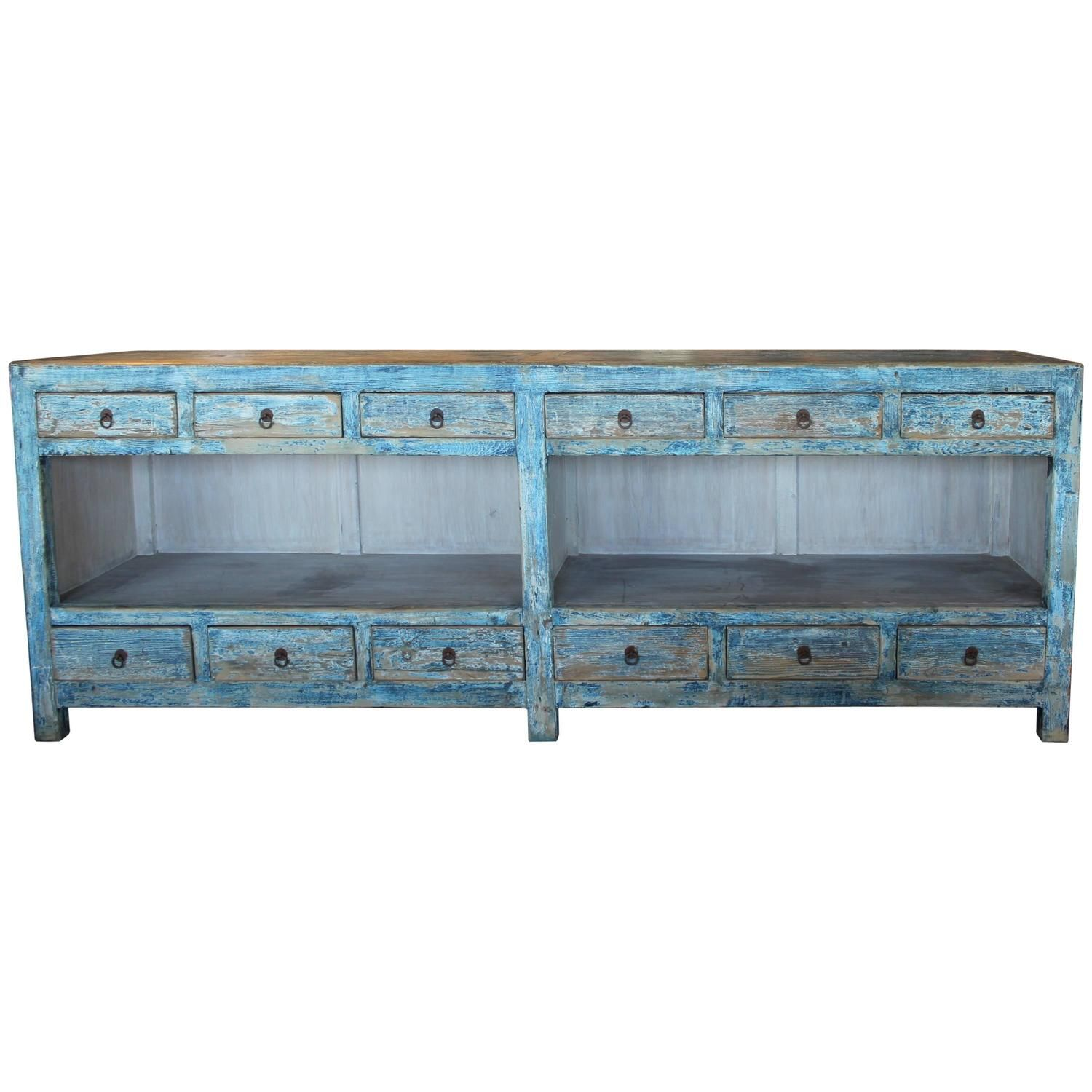 Antique Sea Blue 12 Drawer Open Sideboard Table