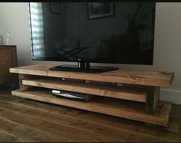 Chunky Rustic TV AUDIO DVD UNIT MK1 Solid Wood   Oak Stain UK Made FREE Pu0026P