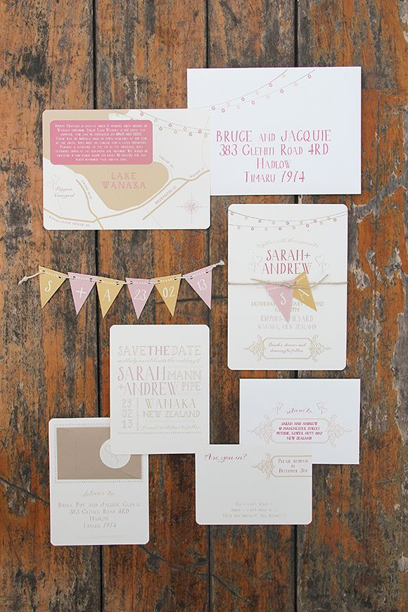 Whimsical Wedding Invitations with pull-out bunting by Ruby & Willow #weddingstationery #weddinginvitations