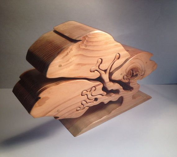Handmade TREE JEWELRY BOX Bandsaw Cut Made from Redwood Box Woods