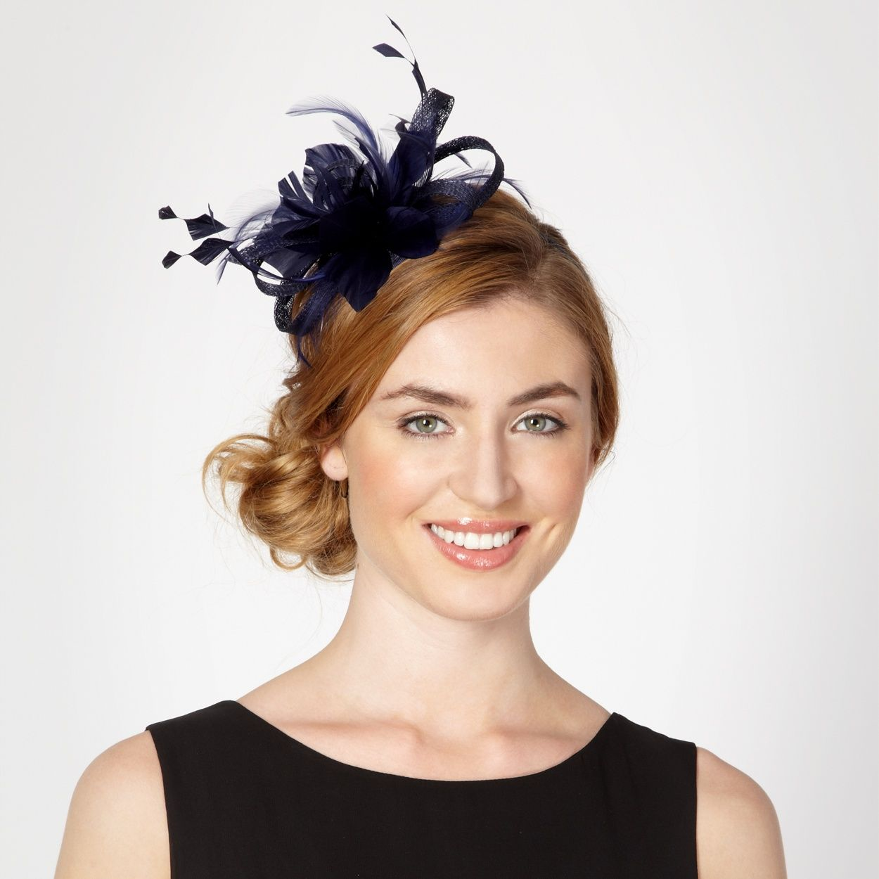 Navy loop and feather hair band Wedding Guest Hair Up 39f4f9e60ad