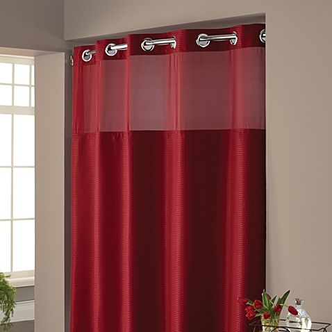 Hookless  Waffle Fabric Shower Curtain Red shower curtains