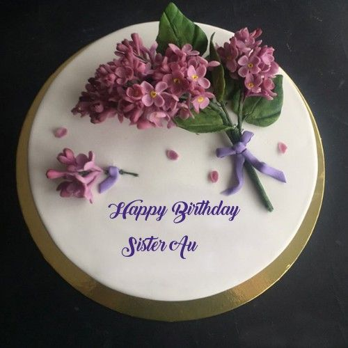 Beautiful Flowers Decoration HBD Cake With Name Wishes Profile Set