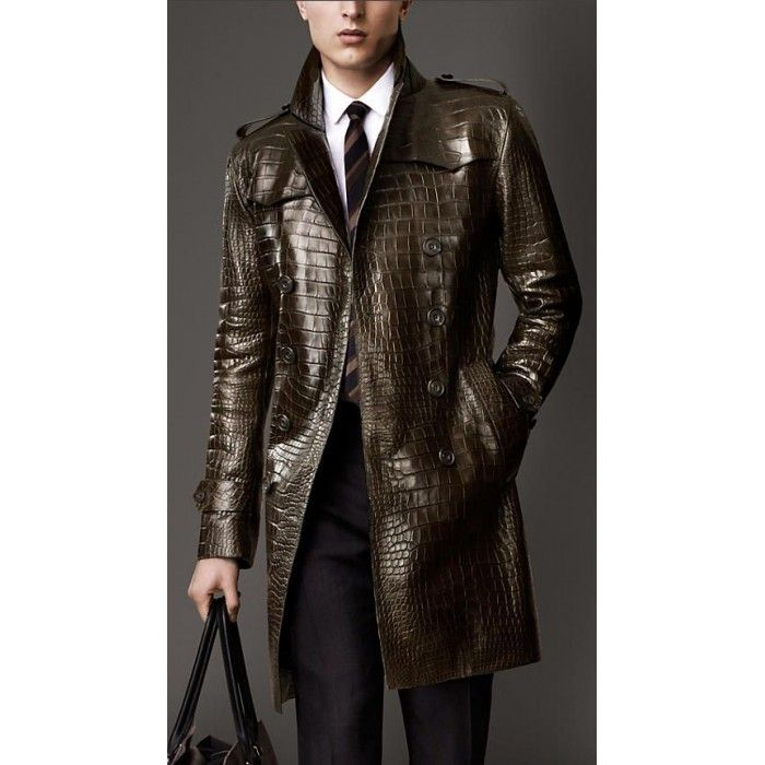 Brown Alligator Skin Leather Men's Trench Coat For Sale | Leather ...