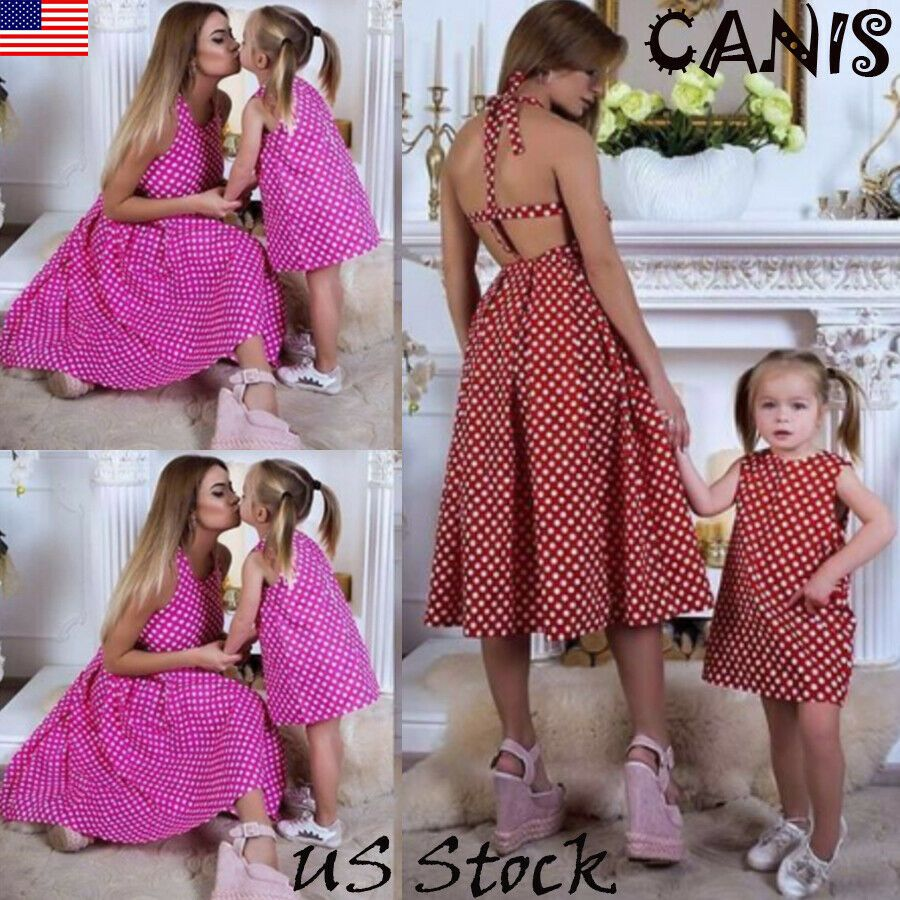 UK Mother/&Daughter Matching Holiday Short Dress Women Girls Dress Family Clothes