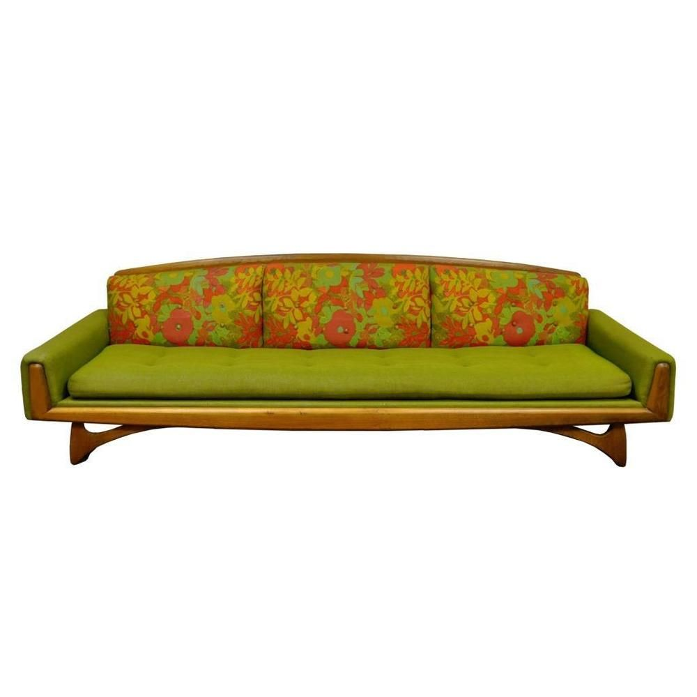 Vintage Kroehler Mid Century Danish Modern Walnut Sculpted Sofa ...