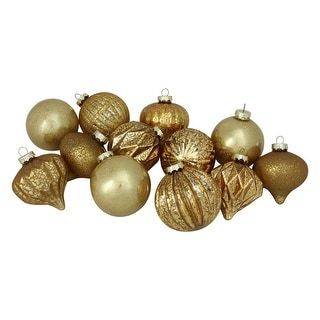 12 piece gold assorted distressed finish glass ornament set 4 100mm overstockcom shopping the best deals on seasonal decor