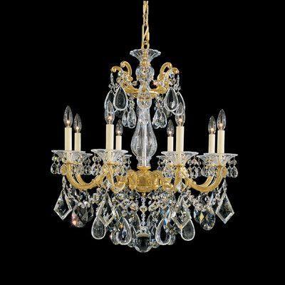 Schonbek La Scala 8 Light Crystal Chandelier Finish / Crystal Color: Etruscan Gold / Swarovski Clear
