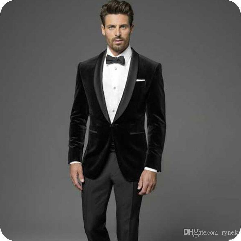 Latest Coat Pant Designs Black Velvet Groom Tuxedos Red Men Wedding Suits Groomsmen Blazer 2piece Wedding Suits Groomsmen Wedding Suits Groom Wedding Suits Men