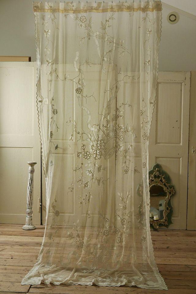 アンティーク フレンチレースカーテン(リボン&パニエ )  French Vintage Tulle Lace Curtain