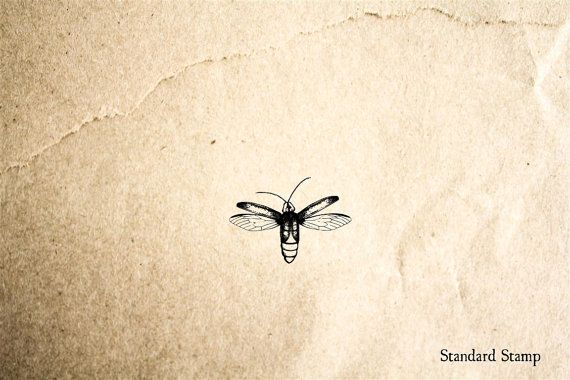 Lightning Bug Flying Rubber Stamp - 1 X 1 Inches