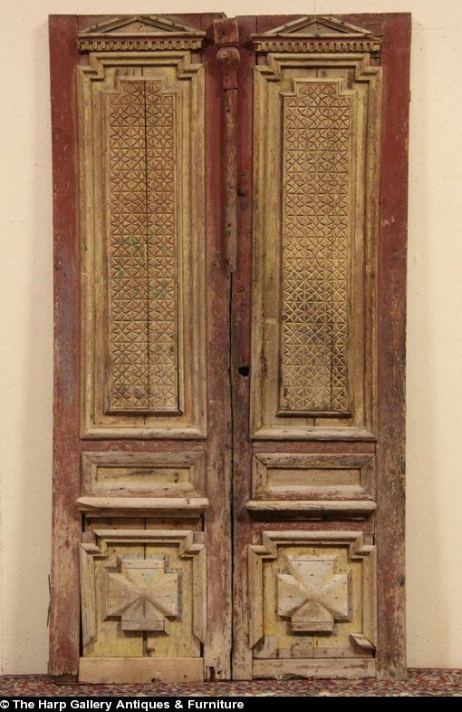 Pair of Architectural Salvage Carved Pine 1880 Antique French Doors - Pair Of Architectural Salvage Carved Pine 1880 Antique French Doors