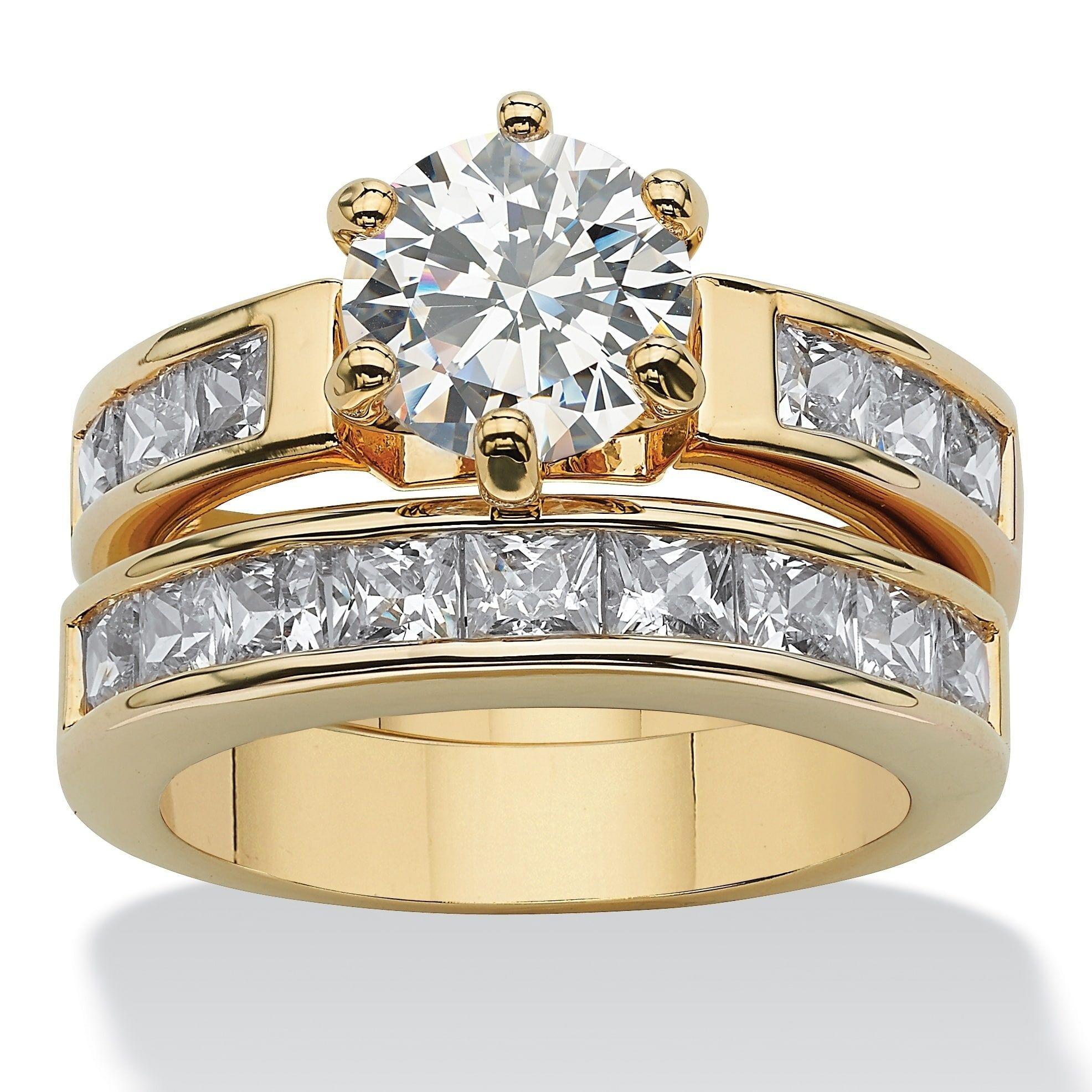 Yellow Goldplated Cubic Zirconia Channel Set Bridal Ring