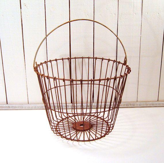 Primitive Farmhouse Decor Rusty Wire Egg Gatherine Basket