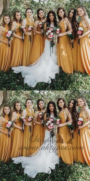 ef844aed4701 A-Line V-neck Long Cheap Yellow Chiffon Convertible Bridesmaid Dresses,  TYP1363 #bridesmaiddresses #longbridesmaiddresses #yellowbridesmaiddresses