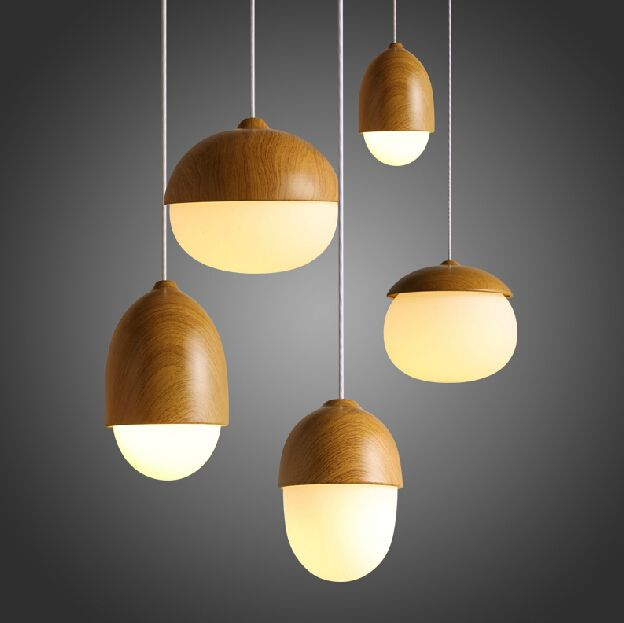 IKEA Modern Lighting Minimalist Line Warm Nuts Wooden Pendant Light Coffee  Hall Bar Counter Wood Hanging Light Fixture Lamp