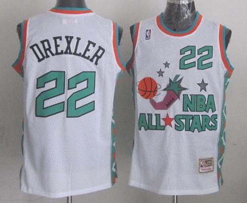 7c4cbd8b173 Mitchell And Ness Rockets  22 Clyde Drexler White 1996 All star Stitched NBA  Jersey