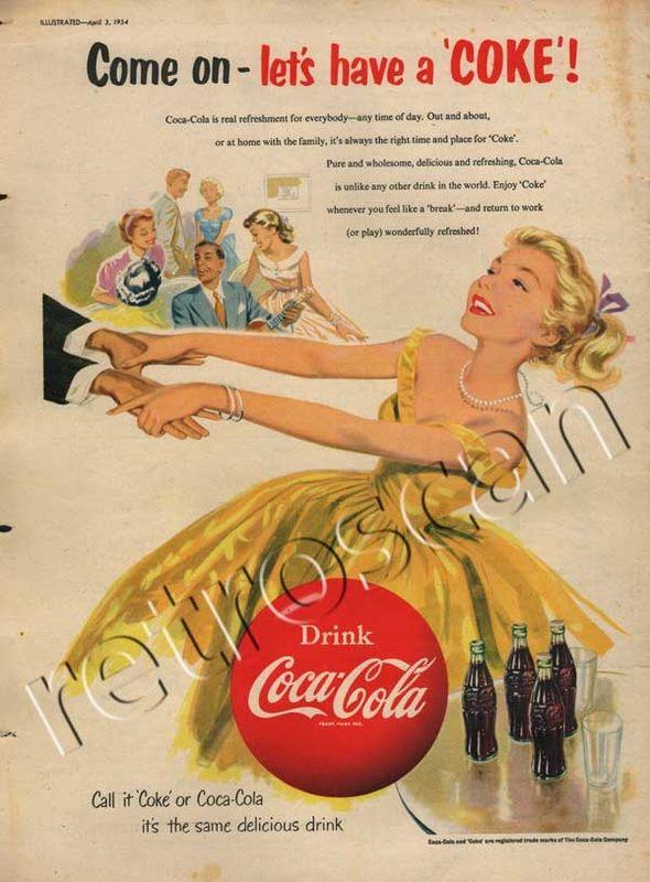 1954 Coca Cola - Dancing Girl | Vintage Advertising | Coca