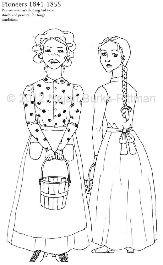 Pioneers Dressing Up Through History Coloring Page