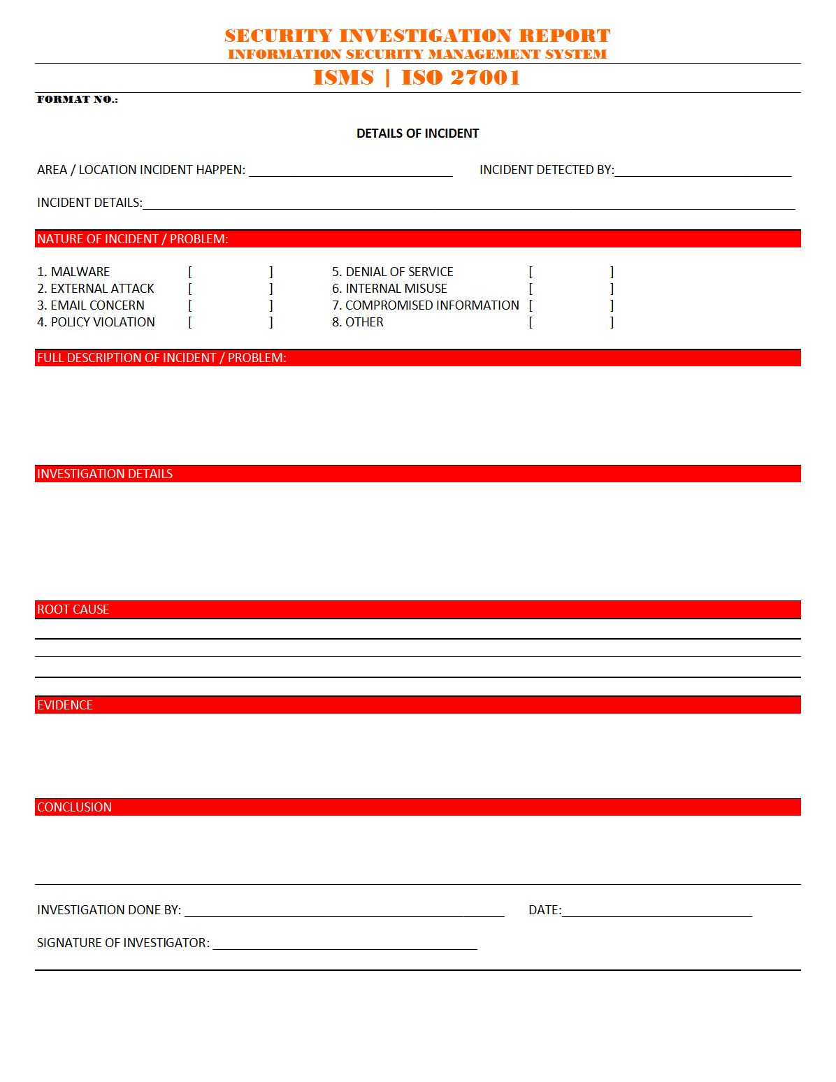 Sample Confidential Investigation Report Form Template Report Template Investigations Sales Report Template