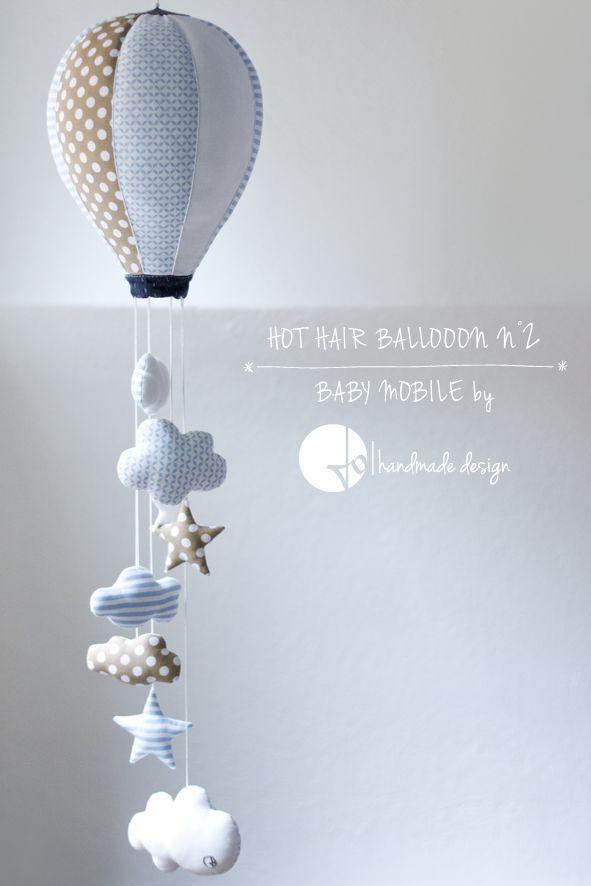 Heißes Haar Ballon, Baby Mobile von Jo handgemachtes Design - Baby Dekoration