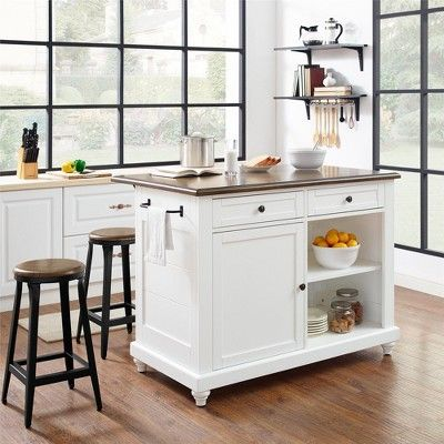 Mona Kitchen Island with 2 Stools White - Dorel Living in 2018