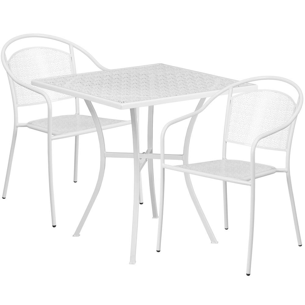 Carnegy Avenue 3 Piece Metal Square Outdoor Bistro Set In White