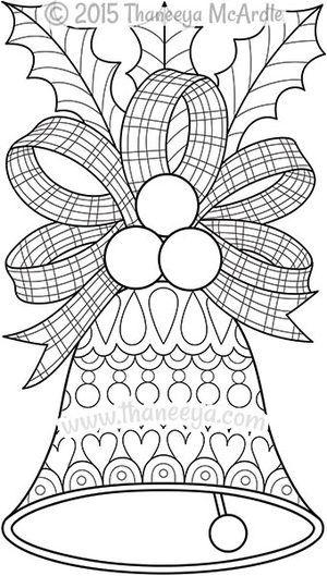 Color de Navidad Bell Página para colorear de Thaneeya | navidad ...